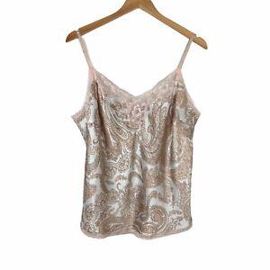 Victorias Secret Satin Lingerie Pajama Camisole Top Large Pink Tan Paisley Print