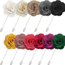 ROSE PIN / Handmade Flower Brooch Boutonnière Suit Lapel Wedding Party Accessory