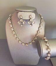 Vintage 1950s KRAMER Heart Shaped Rhinestone Parure/ Necklace Bracelet Earrings