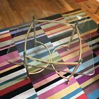 MCM Hollywood Regency La Barge Italy Brass Glass Top Square Coffee Side Table