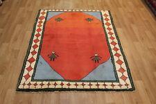 A beautiful Persian Shiraz Gabbeh tribal wool rug Hand Made rug 170 x 145 cm