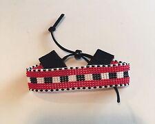 Bead loom , seed bead red, black,white bracelet with  tie end