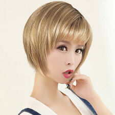 New Women Short Straight Hair Wig Blonde/Brown Mixed Synthetic Fiber LSOA Gift