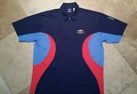 xC FILA US Open 2002 Short Sleeve Zippered Golf Polo Shirt Polyester Blue Red M