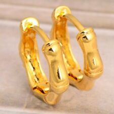 9K 9CT YELLOW GOLD FILLED LADY GIRLS MENS SOLID HOOP NEW HUGGIE SLEEPER EARRINGS