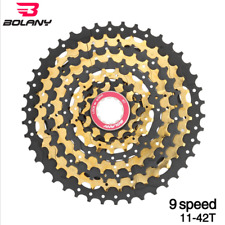 BOLANY MTB 9 Speed Cassette Steel Plate 11-42T Mountain Bike Flywheel Gold+Black