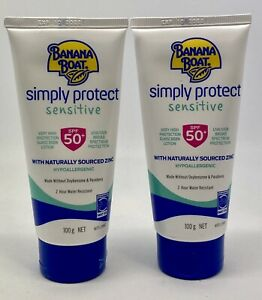 2X Banana Boat SPF 50+ Simply Protect Sensitive Zinc Face Tinted 50g Exp 10/2022