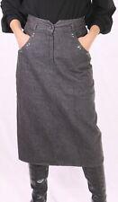 CT71 Jeans-Rock Gr. 40 schwarz midi wadenlang high waist Straßsteine ungetragen