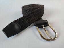 Cinturón elastico extensible trenzado de lona hombre color marrón