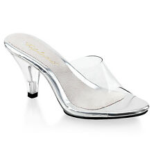 PLEASER FABULICIOUS BELLE-301 CLEAR KITTEN HEEL MULES SHOES UK 3-13