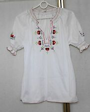 Vintage 60s 70s Embroidered Folk Hippie Boho Gypsy Blouse Shirt Top S/M