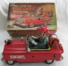 Rare Japan Tin Mystery Action Car Battery Operated Fire Chief w/ Box Free Ship
