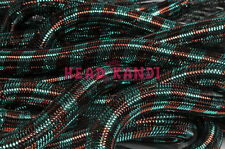 "Metallic Aqua Coco Stripe Cyberlox Tubular Crin 3/4"" 10 Yards"