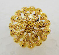 South Indian Dulhan Fashion Jewelry Ethnic 22k Gold Plated Party Ring Adjustable