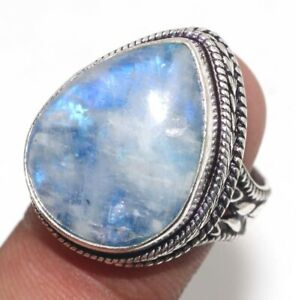 Rainbow Moonstone 925 Silver Plated Handmade Vintage Ring us 8 Jewelry GW
