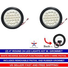 "4"" Inch White 24 LED Round Reverse/Backup/Tail Trailer Light Kit Grommet- Qty 2"