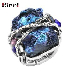Kinel Natural Stone Ring Vintage Jewellery Antique Silver Unique Punk Rock Ring