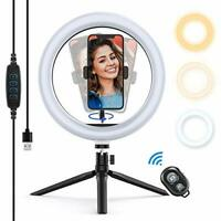 """Yoozon 10"""" LED Ring Light with Tripod Stand & Phone Holder, Dimmable Desktop"""