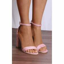 BLUSH PINK GLITTER BLOCK HIGH HEELED HEELS STRAPPY SANDALS PEEP TOES SHOES SIZE