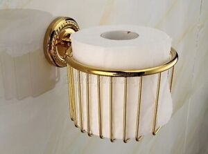 Gold Color Brass Wall Mounted Toilet Paper Holder Roll Tissue Basket wba609