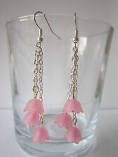Long Drop / Dangle Earrings - Cherry Blossom - 3 Chains - Silver Plated - Pink