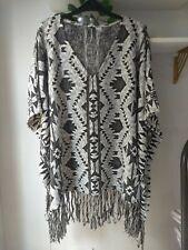 Aztec Southwestern Jacquard Shawl Poncho Black & White H&M M BNWT