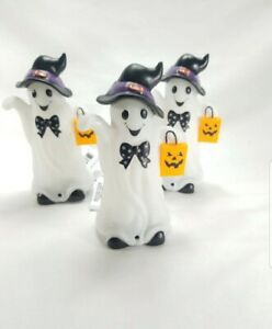 3 Ghost Halloween Motion Activated Light & Sound Lights Up Halloween Lot Of 3