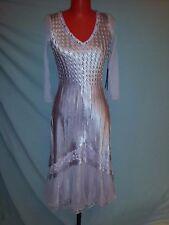 KOMAROV Lavender Purple pink silk/chiffon/lace 3/4 sleeves dress NEW sz S-M $525