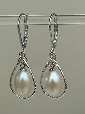 Sterling Silver Hollow Teardrop White Pearl Drop Earrings LEVER BACKS