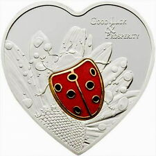 Palau 2010 Luck Lady Bug 5 Dollars Heart Silver Coin,Proof