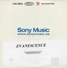 "EVANESCENCE ""MISSING"" MEGA RARE SPANISH PROMOTIONAL TEST PRESSING CD-R SINGLE"