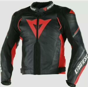 DAINESE SUPER SP-D1 LEATHER JACKET MOTORCYCLE BLACK/RED ALL SIZE AVAIABLE