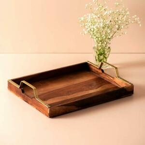 """Sheesham Wood Serving Tray with Brass Handle 15"""" X 12"""" Brown Home Kitchen Décor"""