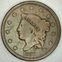 1837 Coronet Head US One Cent Penny Coin 1c Large Cent Copper Coin Good