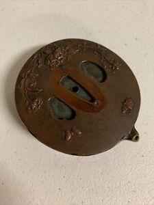 Antique Japanese Patinated Bronze Sword scabbard Form Water Vessel - Meiji Era