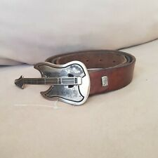 """Italian Brown Leather Belt With Guitar Belt Buckle SOLO Soprani Brown 40"""""""