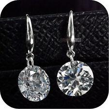 925 sterling silver made with SWAROVSKI crystal womens stud hook earrings 4ct