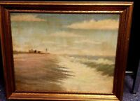 VINTAGE OIL ON CANVAS OCEAN  LIGHTHOUSE BY C OR G MEYERS  NEEDS CLEANING 16 X 20