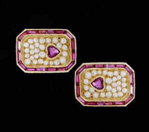 14 K Yellow Gold Men's Cufflinks With Real Diamond Faceted And Ruby Gemstone