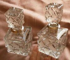 2 Flacons à parfum en cristal taillé & col en argent massif sterling 925