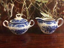 Villeroy & Boch Pheasant in Blue, Pretty Milk Jug and Sugar Bowl