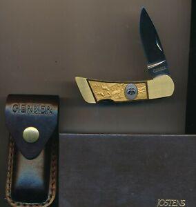 Gerber Medallion Josten's 97223 Single Blade Lockback with Sheath Made in USA