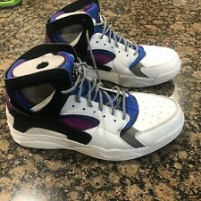 factory price dbdbb 1ead2 Nike Air Flight Huarache PRM QS White Black Berry Blue 686203-100 Sz 12