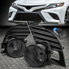 FOR 18-20 TOYOTA CAMRY SE XSE BUMPER DRIVING FOG LIGHTS W/BEZEL+SWITCH SMOKED