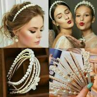 Women's Elegant Big Pearl Headband Girls Crystal Hairband Hair Hoop Accessories