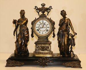 Antique Ansonia Figural Double Bronze Statue Spelter Iron Base Mantel Clock