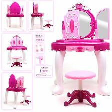 Large Girls Glamour Mirror Makeup Vanity Set Pretend Play Toy w/ Stool Shoes New