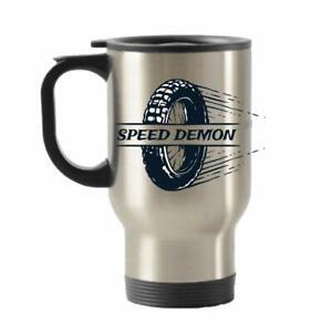 Speed Demon theme 14oz Silver Travel Mug Christmas/Birthday gift.