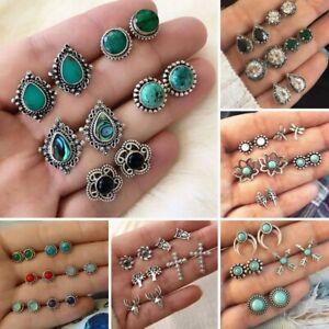 5/6pairs Set Boho Crystal Turquoise Earrings Ear Stud Women Retro Jewelry Gifts
