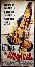 THE STRANGLER ORIGINAL 41X81 THREE SHEET MOVIE POSTER 1964 VICTOR BUONO HORROR